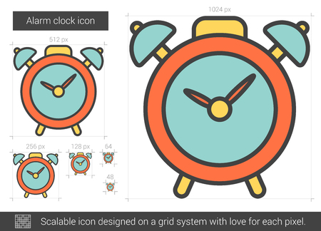Alarm clock vector line icon isolated on white background. Alarm clock line icon for infographic, website or app. Scalable icon designed on a grid system.  イラスト・ベクター素材