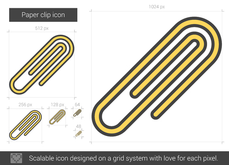 Paper clip vector line icon isolated on white background. Paper clip line icon for infographic, website or app. Scalable icon designed on a grid system. 版權商用圖片 - 128544396
