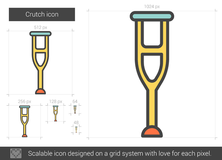Crutch vector line icon isolated on white background. Crutch line icon for infographic, website or app. Scalable icon designed on a grid system. Illustration