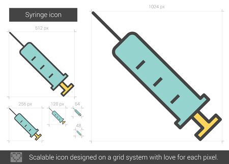 Syringe vector line icon isolated on white background. Syringe line icon for infographic, website or app. Scalable icon designed on a grid system. Stock Vector - 128544454