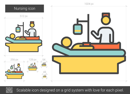 Nursing vector line icon isolated on white background. Nursing line icon for infographic, website or app. Scalable icon designed on a grid system. 일러스트