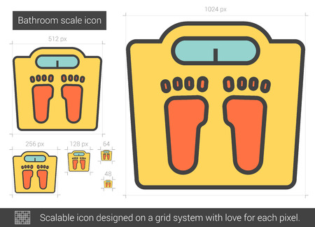Bathroom scale vector line icon isolated on white background. Bathroom scale line icon for infographic, website or app. Scalable icon designed on a grid system. Ilustração