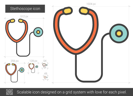 Stethoscope vector line icon isolated on white background. Stethoscope line icon for infographic, website or app. Scalable icon designed on a grid system. Illustration