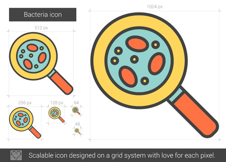 Bacteria vector line icon isolated on white background. Bacteria line icon for infographic, website or app. Scalable icon designed on a grid system.