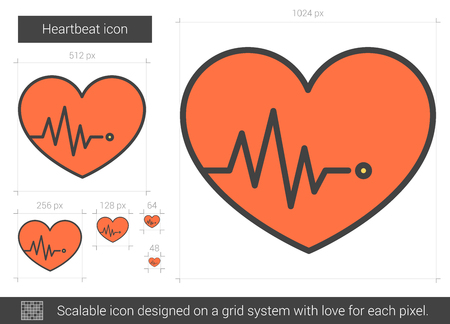 Heartbeat vector line icon isolated on white background. Heartbeat line icon for infographic, website or app. Scalable icon designed on a grid system. Stock Vector - 128544480