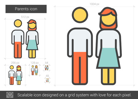 Parents vector line icon isolated on white background. Parents line icon for infographic, website or app. Scalable icon designed on a grid system. Illustration