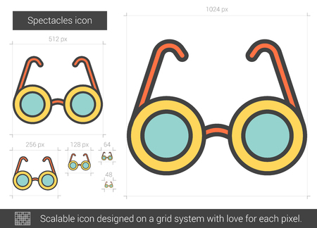 Spectacles vector line icon isolated on white background. Spectacles line icon for infographic, website or app. Scalable icon designed on a grid system. Stockfoto - 128544487