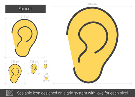 Ear vector line icon isolated on white background. Ear line icon for infographic, website or app. Scalable icon designed on a grid system. Stock Illustratie
