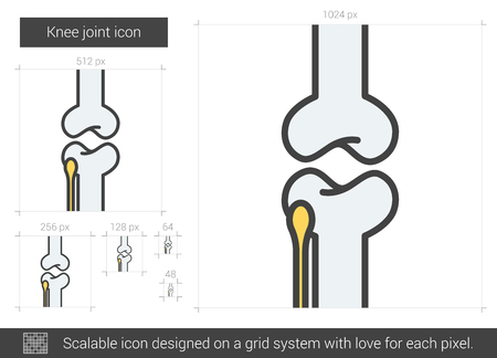 Knee joint vector line icon isolated on white background. Knee joint line icon for infographic, website or app. Scalable icon designed on a grid system. Ilustração