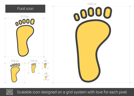 Foot vector line icon isolated on white background. Foot line icon for infographic, website or app. Scalable icon designed on a grid system. Illusztráció