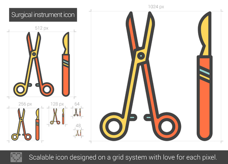 Surgical instruments vector line icon isolated on white background. Surgical instruments line icon for infographic, website or app. Scalable icon designed on a grid system. Ilustração
