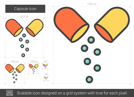 Capsule vector line icon isolated on white background. Capsule line icon for infographic, website or app. Scalable icon designed on a grid system. Ilustração