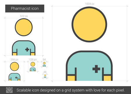 Pharmacist vector line icon isolated on white background. Pharmacist line icon for infographic, website or app. Scalable icon designed on a grid system. Ilustração
