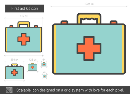 First aid kit vector line icon isolated on white background. First aid kit line icon for infographic, website or app. Scalable icon designed on a grid system. Ilustração