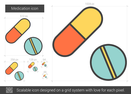 Medication vector line icon isolated on white background. Medication line icon for infographic, website or app. Scalable icon designed on a grid system. Ilustração