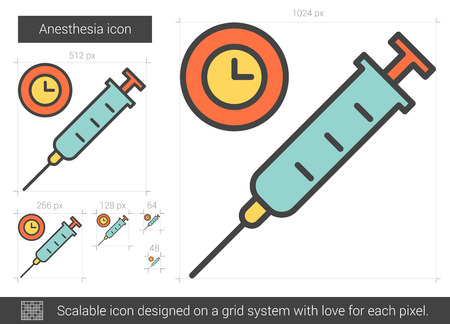 analgesia: Anesthesia vector line icon isolated on white background. Anesthesia line icon for infographic, website or app. Scalable icon designed on a grid system.