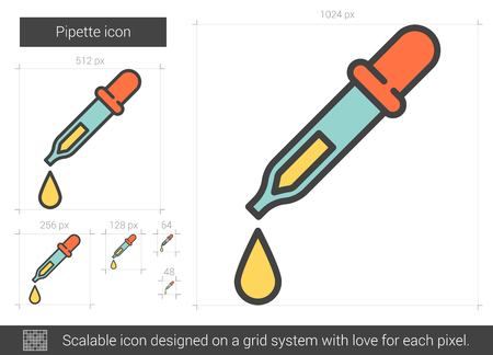 scalable: Pipette vector line icon isolated on white background. Pipette line icon for infographic, website or app. Scalable icon designed on a grid system. Illustration