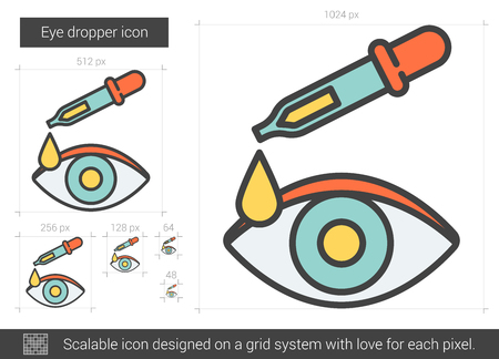 Eye dropper vector line icon isolated on white background. Eye dropper line icon for infographic, website or app. Scalable icon designed on a grid system. Illustration