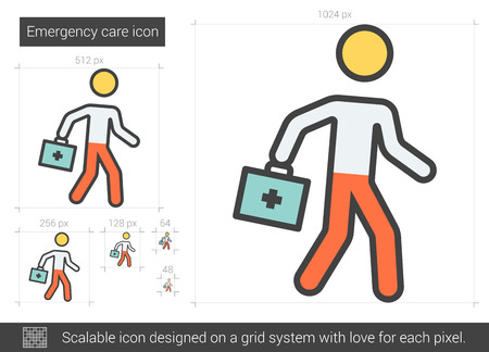 Emergency care vector line icon isolated on white background. Emergency care line icon for infographic, website or app. Scalable icon designed on a grid system. Illustration