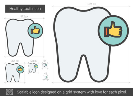 cleanliness: Healthy tooth vector line icon isolated on white background. Healthy tooth line icon for infographic, website or app. Scalable icon designed on a grid system.