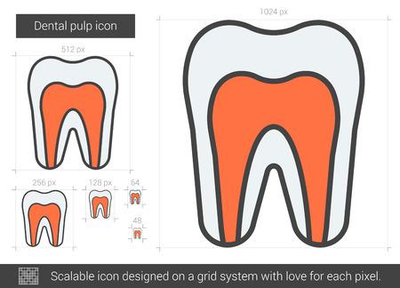 歯髄ベクトル線のアイコンが白い背景で隔離。インフォ グラフィック、ウェブサイトまたはアプリ スケーラブルなアイコンの歯髄線アイコンのグリ
