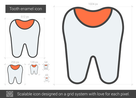 scalable: Tooth enamel vector line icon isolated on white background. Tooth enamel line icon for infographic, website or app. Scalable icon designed on a grid system. Illustration