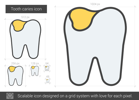 Tooth caries vector line icon isolated on white background. Tooth caries line icon for infographic, website or app. Scalable icon designed on a grid system.
