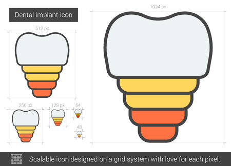 orthodontist: Dental implant vector line icon isolated on white background. Dental implant line icon for infographic, website or app. Scalable icon designed on a grid system.