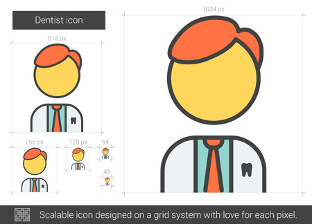 Dentist vector line icon isolated on white background. Dentist line icon for infographic, website or app. Scalable icon designed on a grid system. Illustration