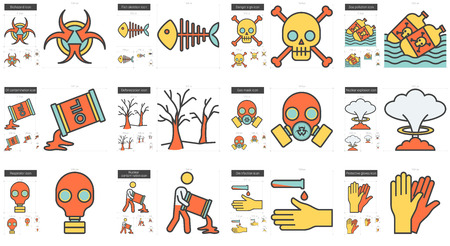 protective gas mask: Ecology biohazard vector line icon set isolated on white background. Ecology biohazard line icon set for infographic, website or app. Scalable icon designed on a grid system.