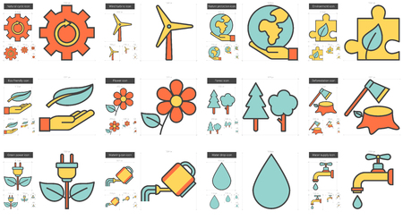 scalable set: Ecology vector line icon set isolated on white background. Ecology line icon set for infographic, website or app. Scalable icon designed on a grid system.