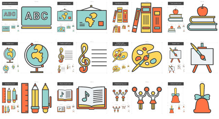 geography: Education vector line icon set isolated on white background. Education line icon set for infographic, website or app. Scalable icon designed on a grid system.