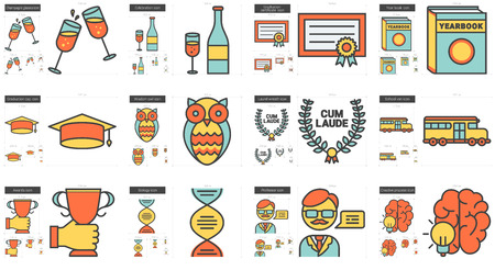 scalable set: Education vector line icon set isolated on white background. Education line icon set for infographic, website or app. Scalable icon designed on a grid system.
