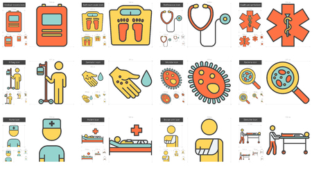 scale icon: Medicine vector line icon set isolated on white background. Medicine line icon set for infographic, website or app. Scalable icon designed on a grid system.