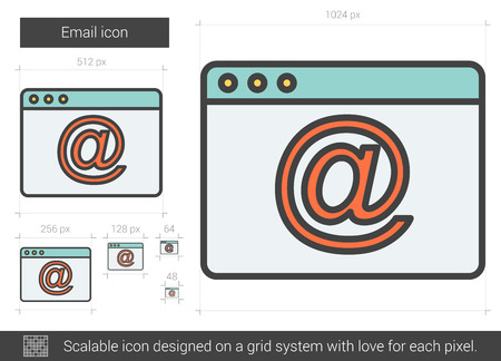 scalable: Email vector line icon isolated on white background. Email line icon for infographic, website or app. Scalable icon designed on a grid system. Illustration