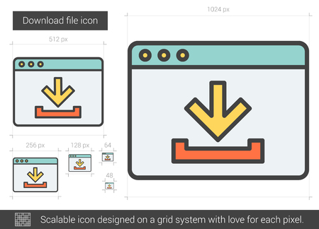 mobile website: Download file vector line icon isolated on white background. Download file line icon for infographic, website or app. Scalable icon designed on a grid system.