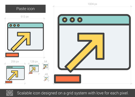copy paste: Paste vector line icon isolated on white background. Paste line icon for infographic, website or app. Scalable icon designed on a grid system.