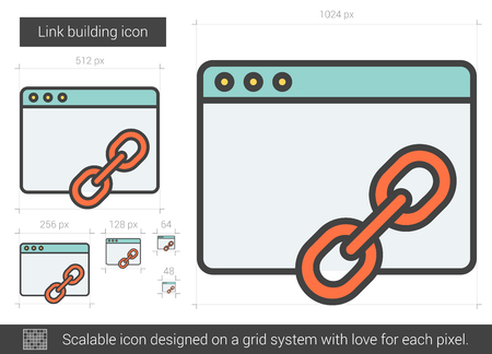 scalable: Link building vector line icon isolated on white background. Link building line icon for infographic, website or app. Scalable icon designed on a grid system. Illustration
