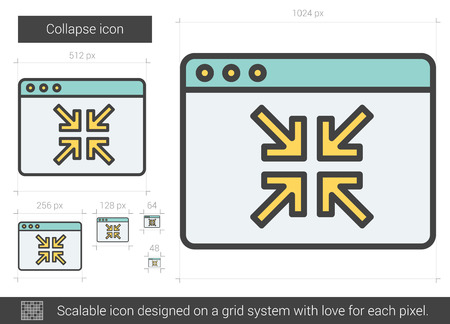 small size: Collapse vector line icon isolated on white background. Collapse line icon for infographic, website or app. Scalable icon designed on a grid system. Illustration