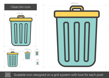 scalable: Clean bin vector line icon isolated on white background. Clean bin line icon for infographic, website or app. Scalable icon designed on a grid system.