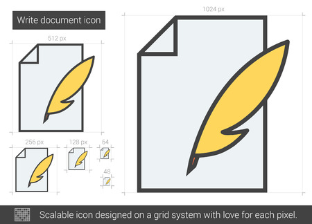 old notebook: Write document vector line icon isolated on white background. Write document line icon for infographic, website or app. Scalable icon designed on a grid system. Illustration