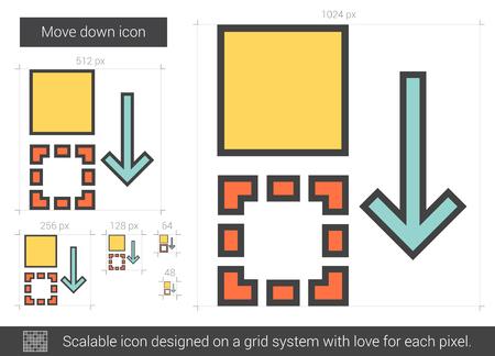 Déplacer l'icône de ligne vectorielle isolée sur fond blanc. Déplacer vers le bas l'icône de la ligne pour l'infographie, le site Web ou l'application. Icône évolutif conçu sur un système de grille.