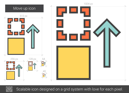 upward movements: Move up vector line icon isolated on white background. Move up line icon for infographic, website or app. Scalable icon designed on a grid system.