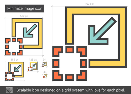 scalable: Minimize image vector line icon isolated on white background. Minimize image line icon for infographic, website or app. Scalable icon designed on a grid system. Illustration
