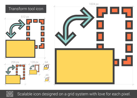 Transform tool vector line icon isolated on white background. Transform tool line icon for infographic, website or app. Scalable icon designed on a grid system. Çizim