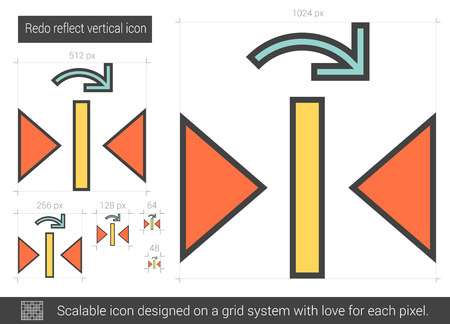 Redo reflect vertical vector line icon isolated on white background. Redo reflect vertical line icon for infographic, website or app. Scalable icon designed on a grid system. Illustration