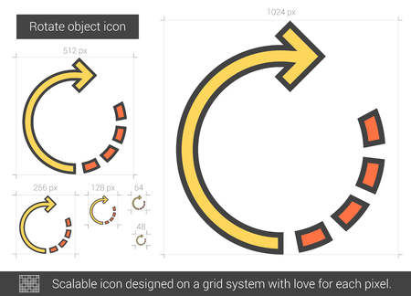 editor: Rotate object vector line icon isolated on white background. Rotate object line icon for infographic, website or app. Scalable icon designed on a grid system.