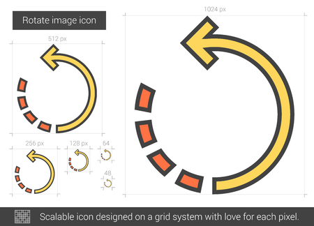 Rotate image vector line icon isolated on white background. Rotate image line icon for infographic, website or app. Scalable icon designed on a grid system. Illustration