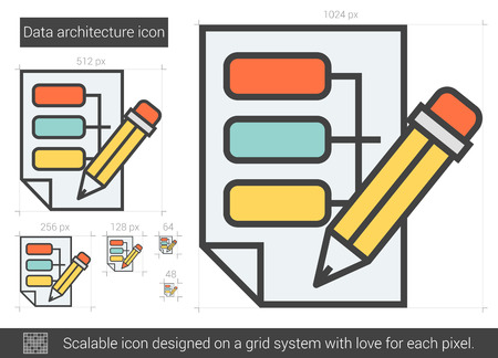 scalable: Data architecture vector line icon isolated on white background. Data architecture line icon for infographic, website or app. Scalable icon designed on a grid system. Illustration