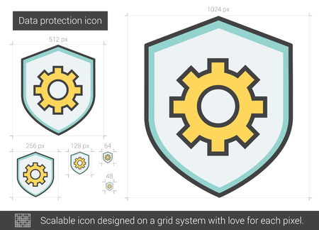 Data protection vector line icon isolated on white background. Data protection line icon for infographic, website or app. Scalable icon designed on a grid system. Illustration